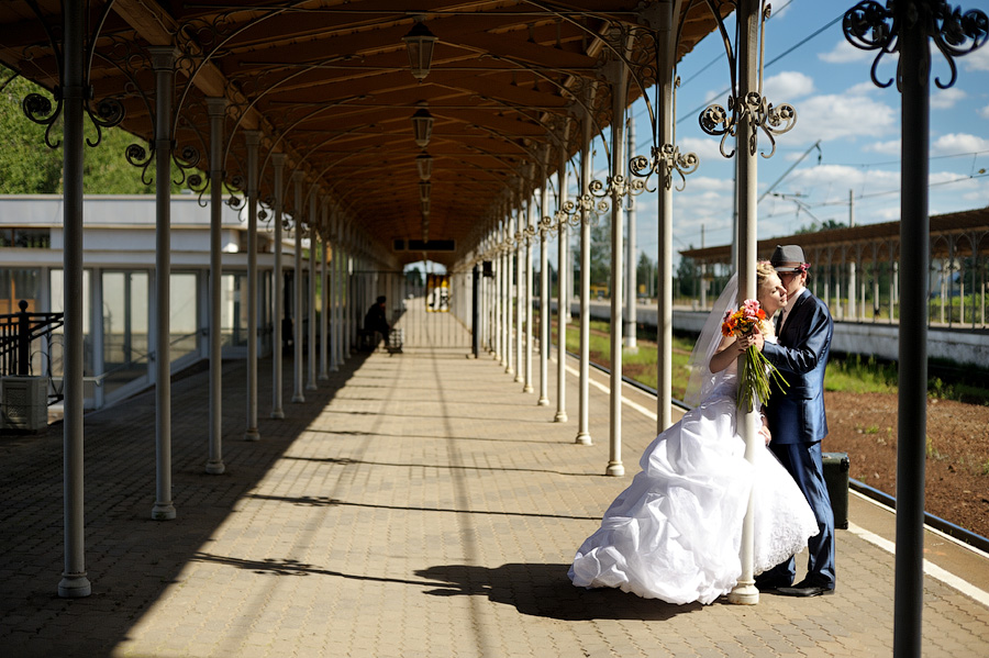 Old train station wedding