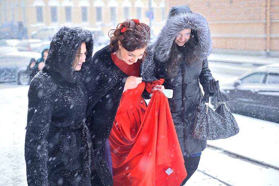 Свадьба зимой в Петербурге. Свадьба в снегопад.