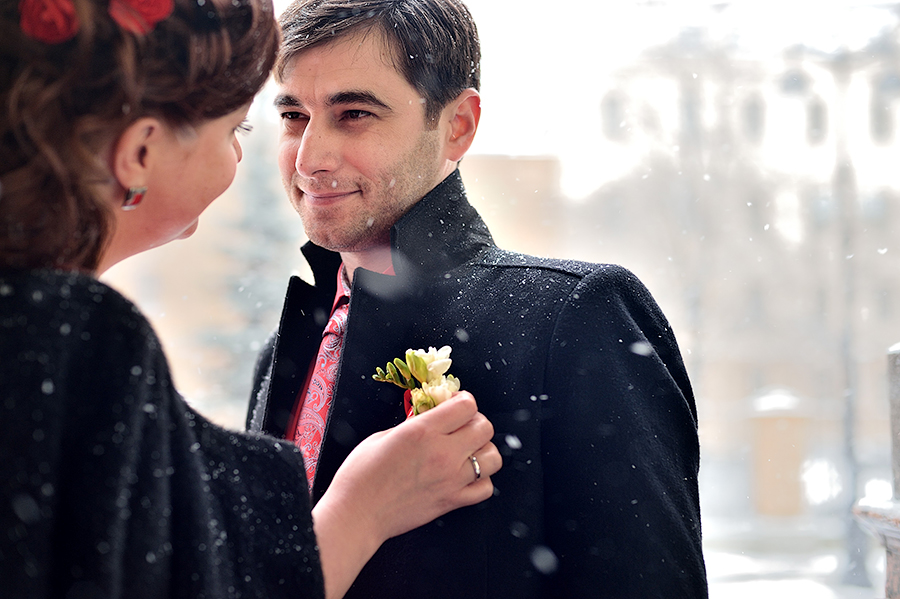 Свадебная фотосессия зимой в Петербурге.
